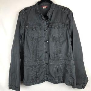 Unionbay Lightweight Snap Jacket Grey Size: 2X